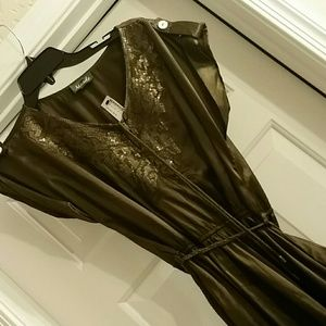 Olive brown small satin dress w/ sequence Maude
